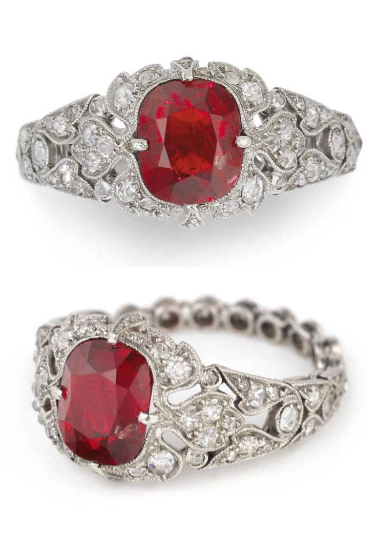 A Belle Epoque ruby and diamond ring, circa 1910. The cushion-shaped ruby, weighing 2.31 carats, within a highly articulated mesh mount decorated with single-cut diamonds.