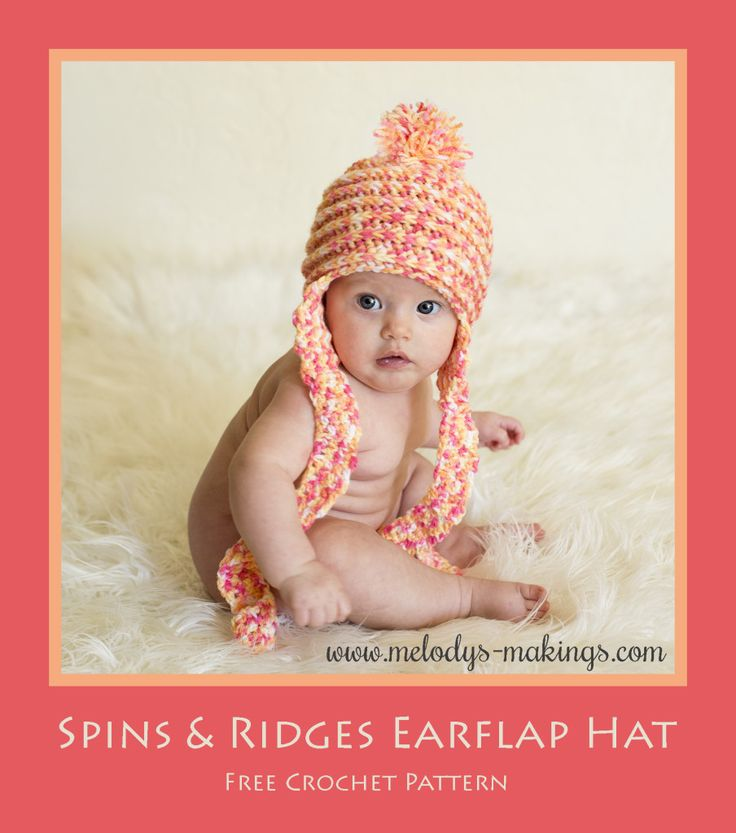 Another Fun Free Crochet Pattern!  Spins and Ridges Earflap Hat.  Including all sizes Newborn through Adult.: