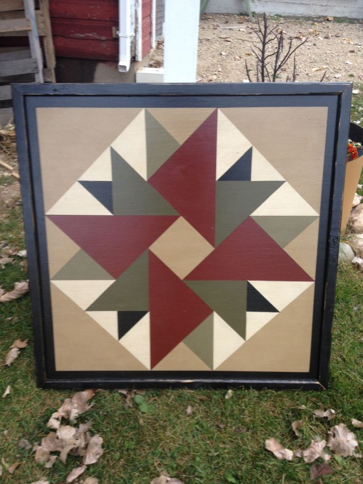 PriMiTiVe Hand-Painted Barn Quilt, Framed 2' x 2' Double Aster Pattern