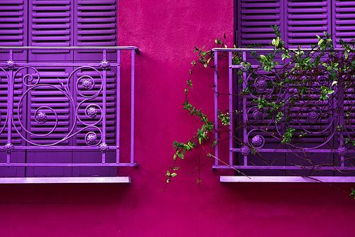 purple-pink: Window Shutters, Wall Colors, Colors Combos, Purple, Balconies, Hot Pink, Pink Wall, Sweet Home, Houses Colors Schemes