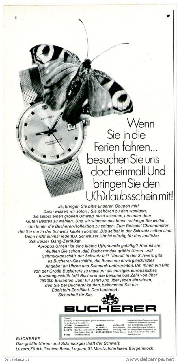 Original-Werbung/ Anzeige 1969 - BUCHERER UHREN UND SCHMUCK / SCHWEIZ - ca. 110 x 240 mm