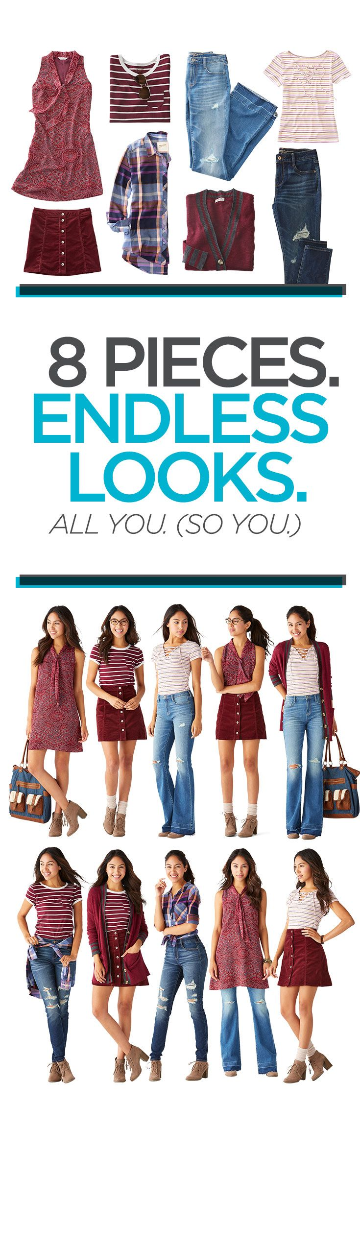 Show up to class on time and on trend with the hottest pieces for back to school style. Dresses that can be worn multiple ways, a skirt that is so easy to throw on with a boho tee and varsity cardigan make getting ready for class so easy. Boho details like lace and crochet and retro patterns are a must. Add in a bold color like burgundy to tie it all together. Create more than one first day look. You'll have endless outfits for back to school. Click to shop more back to school looks!