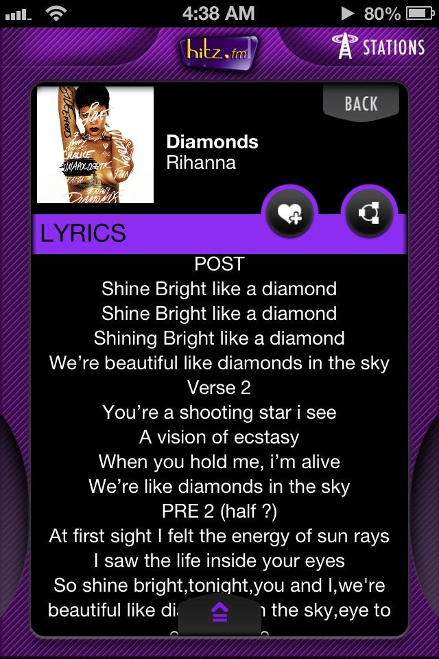 Music App hitz fm Malaysia Rihanna lyrics, Music app