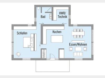 Grundriss EG Bungalow Bowles #Einfamilienhaus Von Baufritz. Schiebetüren  Und Offener Wohnbereich Geben Dem Bungalow