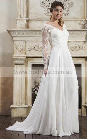 Backless Court Train A-line Natural V-neck Wedding Dresses gwcf1002