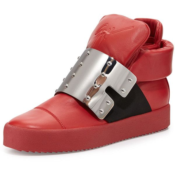 Giuseppe Zanotti Men's Leather High-Top with Plate Front (6.998.145 IDR) ❤ liked on Polyvore featuring men's fashion, men's shoes, men's sneakers, red, mens red shoes, mens leather sneakers, mens monk strap shoes, giuseppe zanotti mens sneakers and mens hi top sneakers