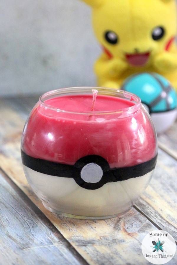 Learn how to make this easy DIY Pokeball Candle using mostly products from the Dollar Tree! It is a fun Nerdy Craft!