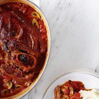 Porc braisé aux champignons, poivrons et tomates