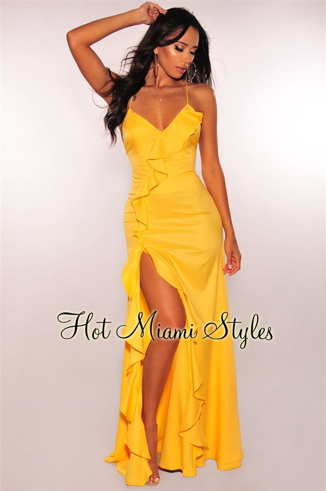 7d5db73cfd Canary Yellow Ruffle Slit Lace Up Maxi Dress in 2019 | Fashion ...