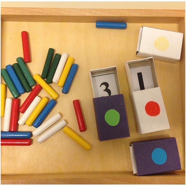 """Här har vi ett sorts läggspel som tränar sortering efter antalsuppfattning och färg, är bra för finmotoriken också. Tanken är att """"spelet"""" ska vara tydligt och att man snabbt ska se hur man ska göra för att det även ska vara tillgängligt för de barn som tar till/lär sig främst visuellt (med ögat). Det går även att variera spelet med att anpassa antal pinnar och färger  efter förmåga. #förskola #lpfö#läggspel#tillgänglighet#meningsfullt#visuellainstruktioner#antalsuppfattning…"""