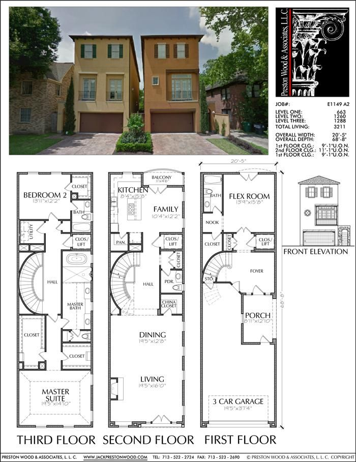 Three Story Townhouse Plan E1149 A2 Narrow House Plans House Layouts House Plans