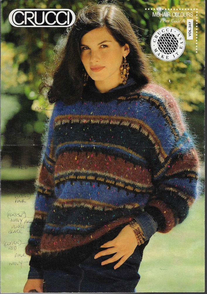 2663b7ce90abef Women s Striped Sweater Crucci 347 knitting pattern mohair yarn  Crucci