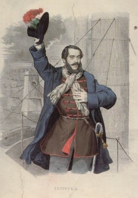 When the Hungarian patriot, Louis Kossuth came to New York, the Kossuth hat became quite fashionable. It was a low crowned hat with a small ostrich feather stuck in one side.