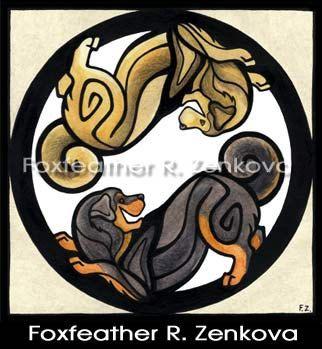 Yin Yang Tibetan Mastiff Art Print  Wall art by foxfeather on Etsy