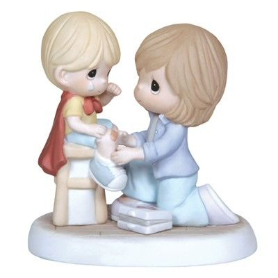 Precious Moments You're My Hero  A perfect Precious Moments for Mother's Day. Features a mom bandaging her sons knee. Figurine is made of porcelain. $55.00 #PreciousMoments #MothersDay #Mom #Family