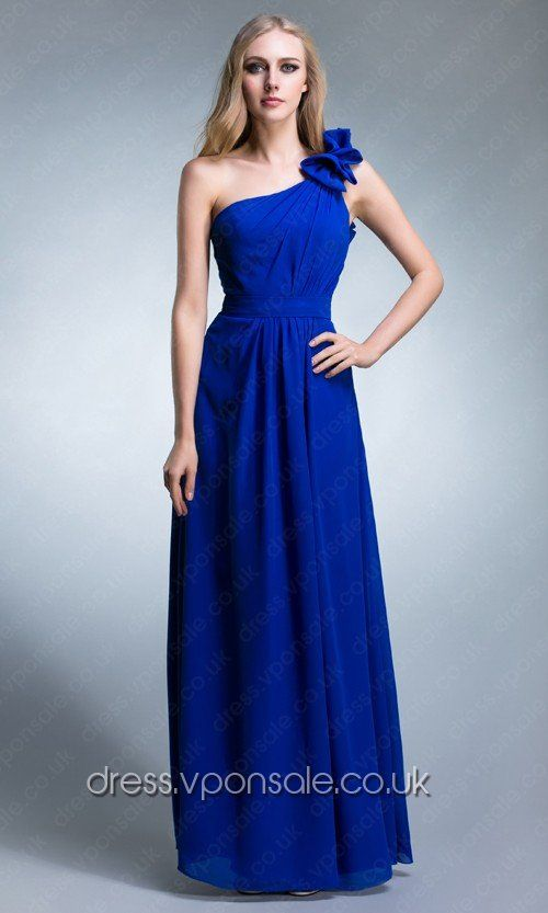 Long Bridesmaid Dresses Blue One Shoulder Long Bridesmaid Dress VPBN665
