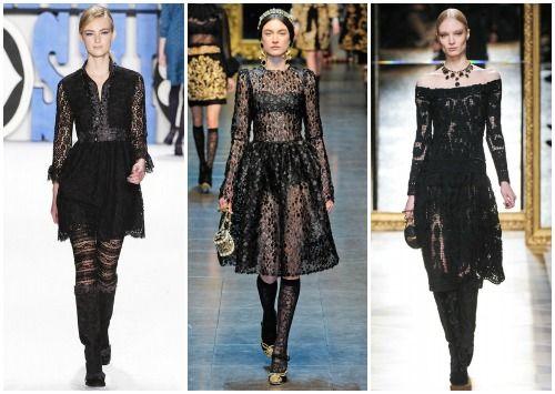 С чем носить черное кружевное платье фото
