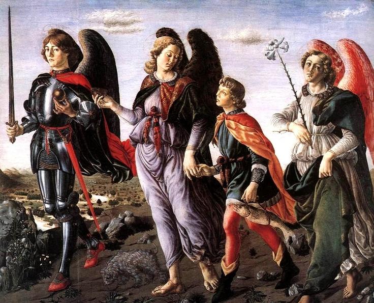 Archangel Michael with archangels Raphael and Gabriel, as they accompany Tobias, by Francesco Botticini, 1470
