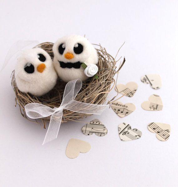 Bird Nest Wedding Cake Topper with Bride and Groom Bird