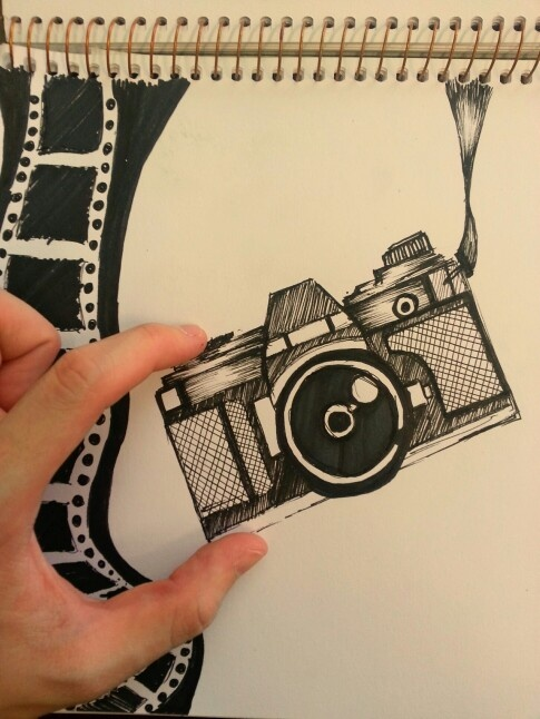 Vintage camera drawing of a lomography cam. Marker work.