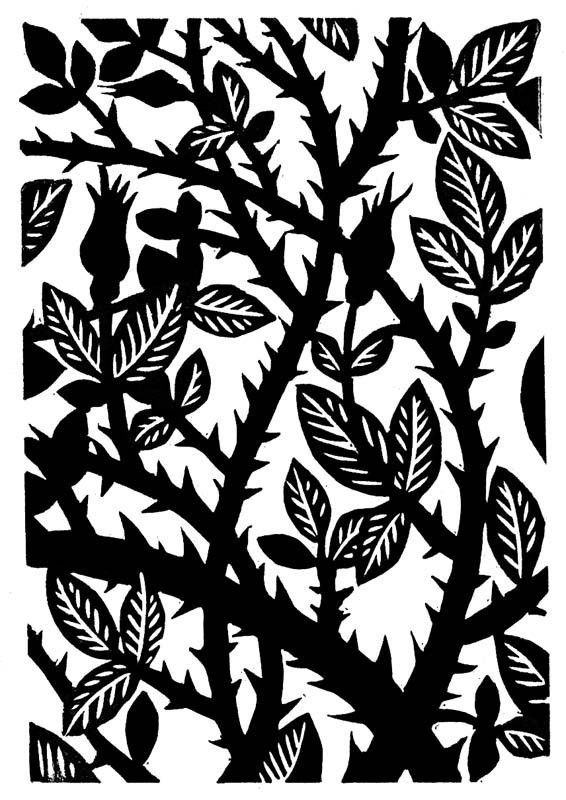 Rose Thorns is a hand pulled linocut from a limited edition of 50. Titled, numbered, and signed in pencil. Dated 2007.