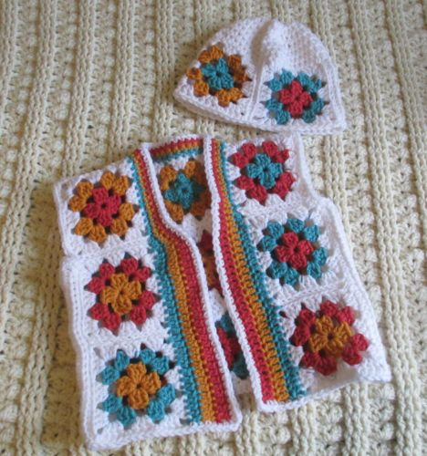 Hand-Crocheted-Girls-4-5-6-Colorful-Granny-Square-Vest-Cap-Hat-Fall-White
