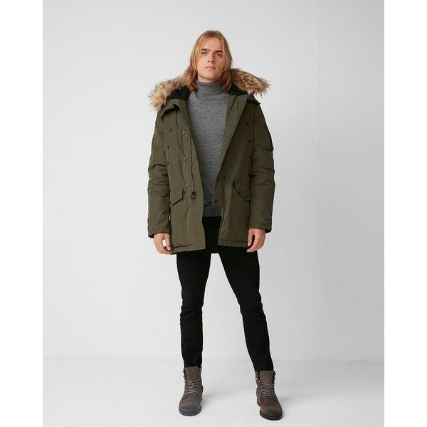 Express Faux Fur Hooded Parka (175 NZD) ❤ liked on Polyvore featuring men's fashion, men's clothing, men's outerwear, men's coats, green, mens hooded parka, express mens outerwear, mens parka and mens parka coats