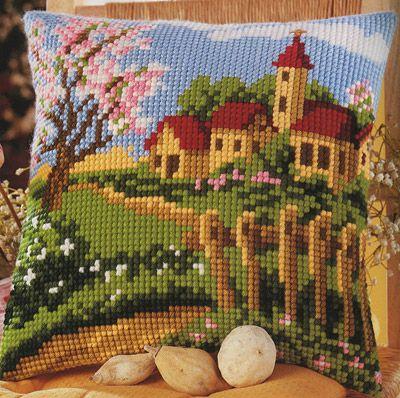 Spring Garden Cross Stitch Cushion Kit By Vervaco