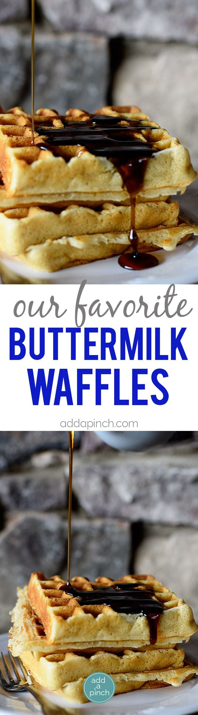 Our Favorite Buttermilk Waffles Recipe - Our favorite buttermilk waffles are crisp on the outside, yet tender and fluffy on the inside. This is the buttermilk waffle recipe I turn to again and again! // addapinch.com