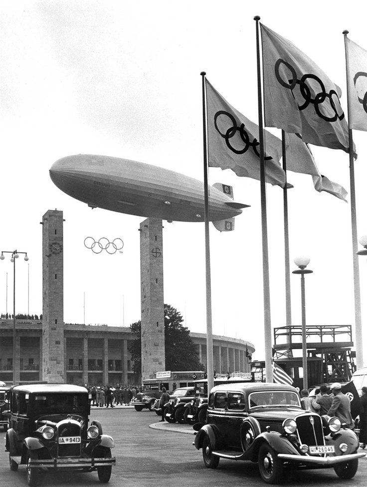Hindenburg over Olympiastadion, Berlin during the opening ceremonies of the 1936 Summer Olympic Games.