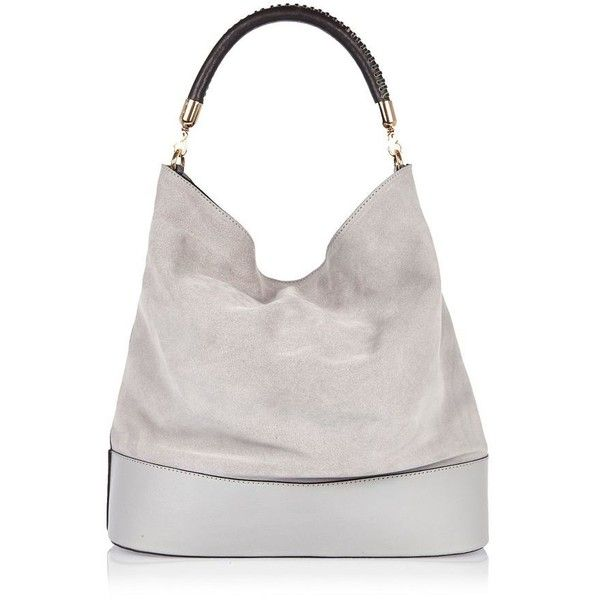 River Island Grey suede slouch handbag (£76) ❤ liked on Polyvore featuring bags, handbags, shoulder bags, slouchy shoulder bag, suede handbags, purse shoulder bag, gray purse and grey handbags