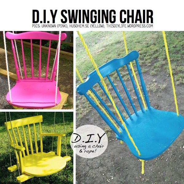 DIY swing chair from old reclaimed furniture  I would love to have these for adults outside.