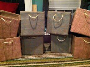 DIY Storage Boxes, burlap and scrapbook paper