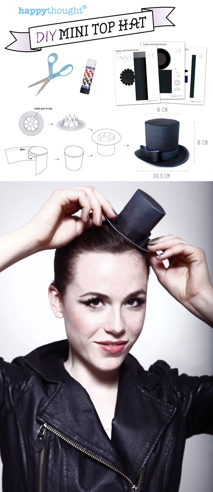 DIY Mini Top Hat made of paper! Printable templates and easy step-by-step instructions. https://happythought.co.uk/craft-ideas/printables/mini-top-hats/mini-paper-top-hats