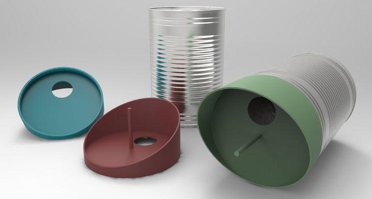 Indezign es un estudio alemán que agrupa a diseñadores industriales y de producto, en su portfolio podéis ver todos los trabajos que se han creado bajo la marca muchos de ellos enfocados al cuidado de la naturaleza y a la reutilización de envases.  TweeTin da una segunda vida a latas, botes, vasos...con una sencilla tapa de plástico reciclado convierte estos envases en comederos y casitas para pájaros. Su utilización es sencilla, hay que fijar la lata a una superficie, poner el alimento y…