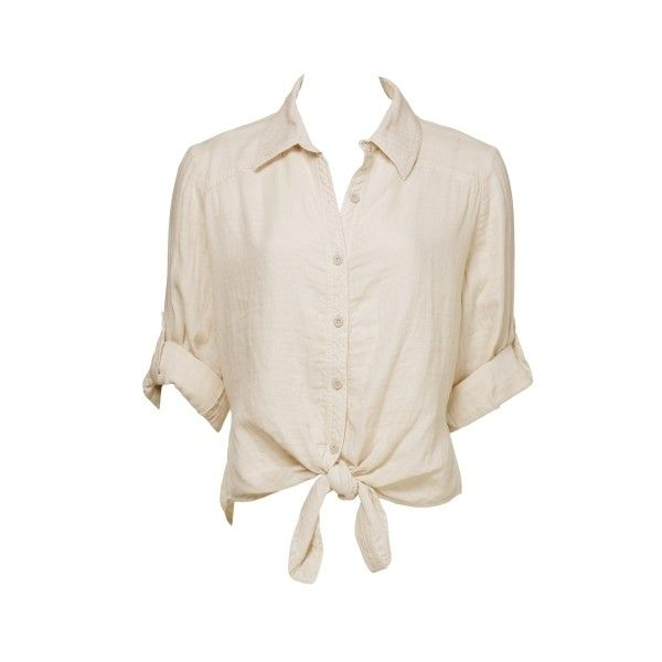 Linen Tie Blouse ($9.99) ❤ liked on Polyvore featuring tops, blouses, shirts, blusas, tie shirt, pink button shirt, charlotte russe shirts, tie top and button front tops