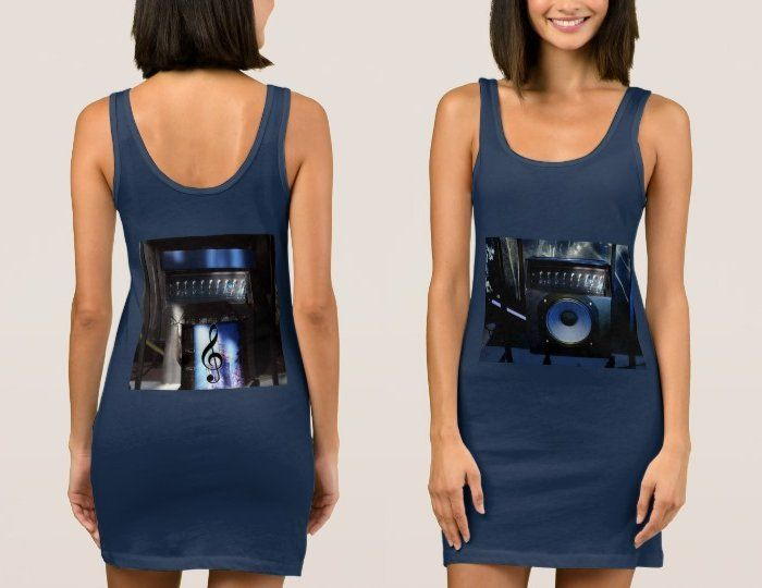 Stunning Navy Tank Dress with Blue Guitar Amp Images