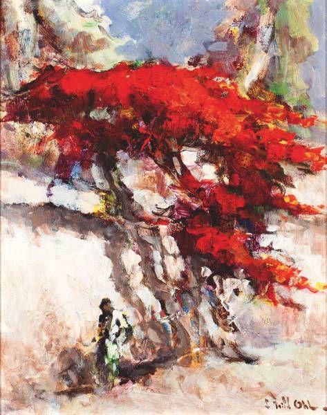 Lucien Frits Ohl - Flamboyant bij witte muur