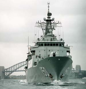 Anzac is the third Royal Australian Navy ship to carry the name of legend, named after the Australian and New Zealand Army Corps of WWI. HMAS Anzac is the first of her class and a modern warship, capable of operating in a multi-threat environment. Anzac's design is based on the German Meko 200 Class that uses modular construction methods. A feature of this method was the ability to share the construction of the 8 Australian and 2 New Zealand vessels throughout Australia and New Zealand.