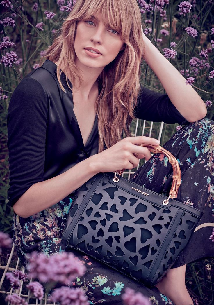 TWIN-SET Simona Barbieri: Embroidered flower blouse and trousers, openwork heart-motif bag