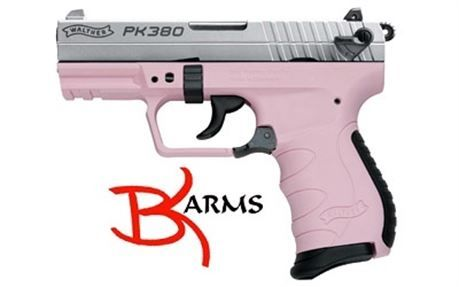 """FREE SHIPPING to CONUS! Walther, PK380 Semi-automatic Pistol, Double/Single Action, 380 ACP, 3.6"""" Barrel, Pink Polymer Frame, Nickel Slide, 8Rd, 1 Magazine Product Specifications UPC Code: 723364210228 Manufacturer: Walther Manufacturer Part #: 5050323 Model: PK380 Action: Semi-automatic Type: Double Action Size: Compact Caliber: 380ACP. New firearms come with full manufacturers warranty. Pics are representative.    Please email any questions on any auction BEFORE bidding to (bradle..."""