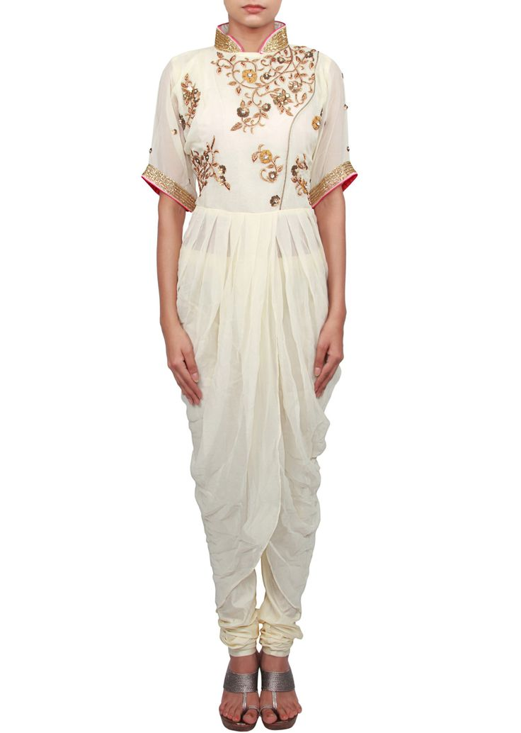 Cream suit featuring with zardosi and cowl drape only on Kalki