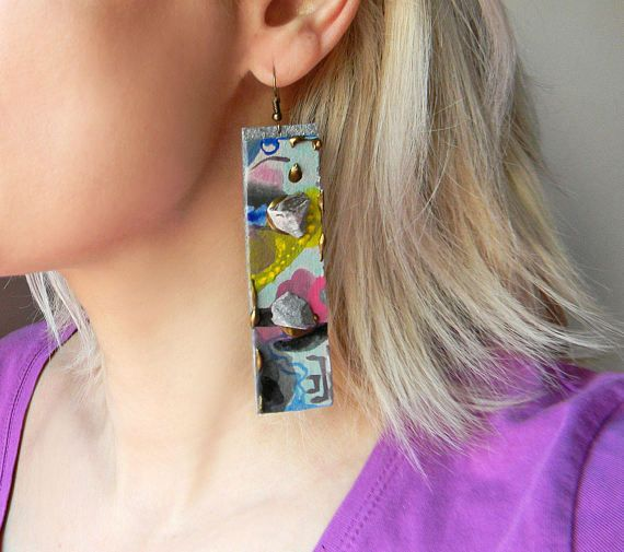 Oversize paper earrings Extra long hand painted by Elyseeart