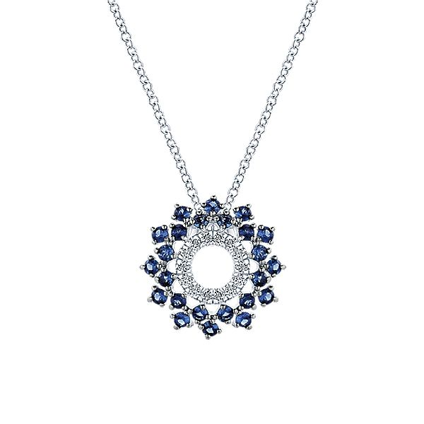 (Would look even better with yellow canary diamonds!!!) 14k White Gold Diamond And Sapphire Fashion