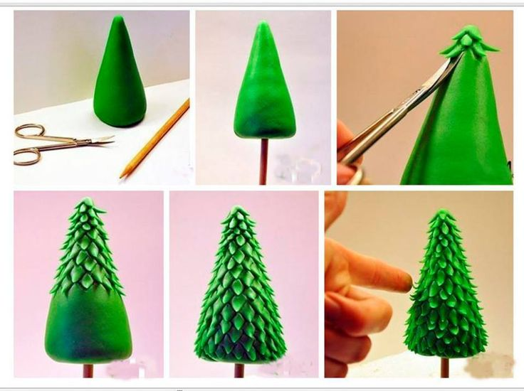 Sweet and simple Christmas Tree, easily recreated in fondant, modeling chocolate, or gumpaste