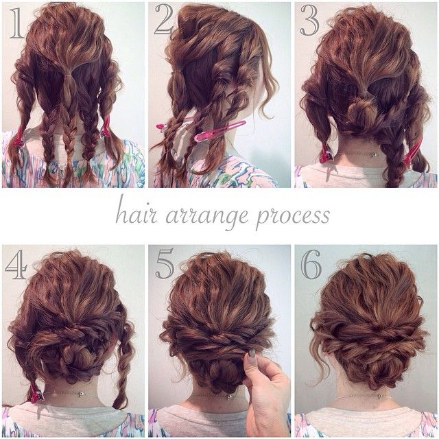 Braids to updo on shoulder length hair