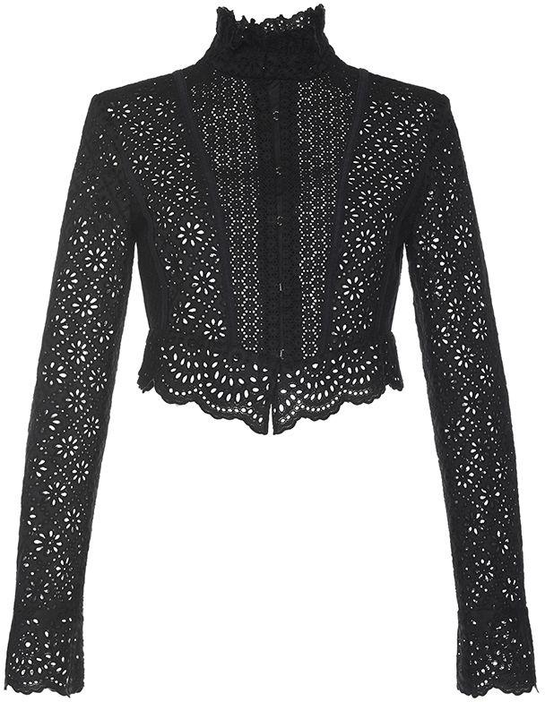 Philosophy di Lorenzo Serafini Embroidered Popline Black Long Sleeve Shirt