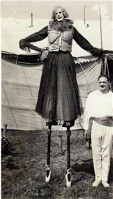 1920s Barnes Circus Performer on stilts