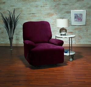 Eastwood Wine Recliner Slipcover. Plush velvety surface, form fit slip cover design, living room, beautiful interior design, chic home decor