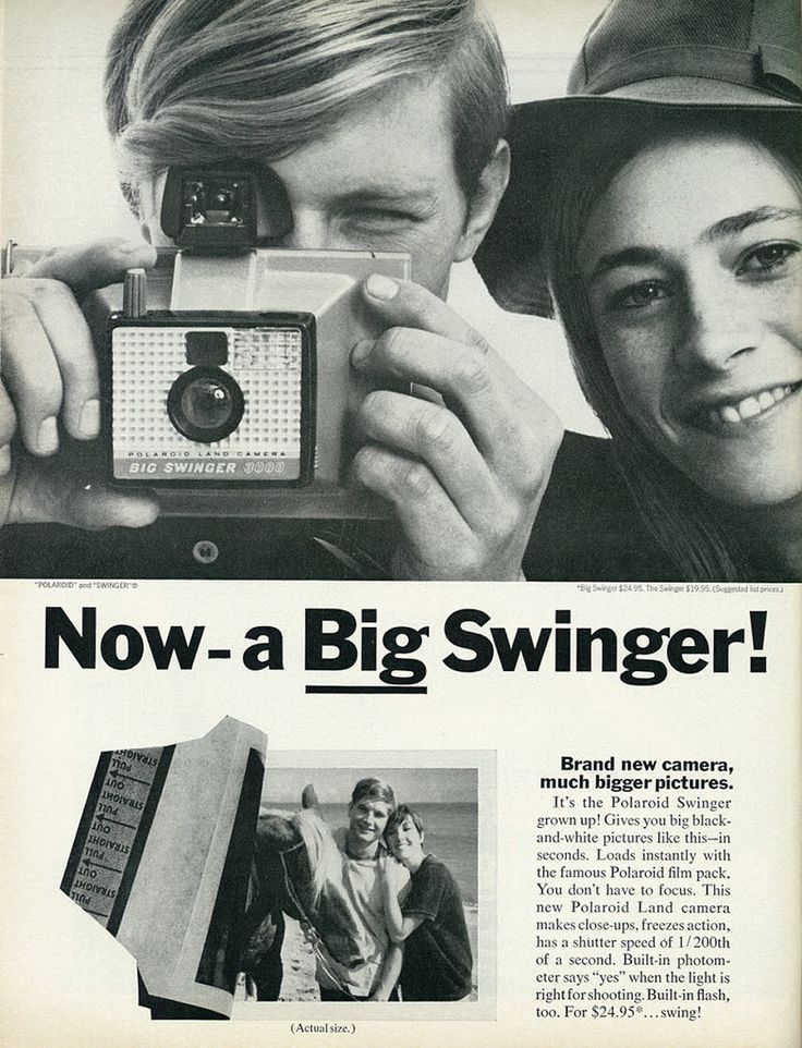 1968 Ad, Polaroid Big Swinger Land Camera